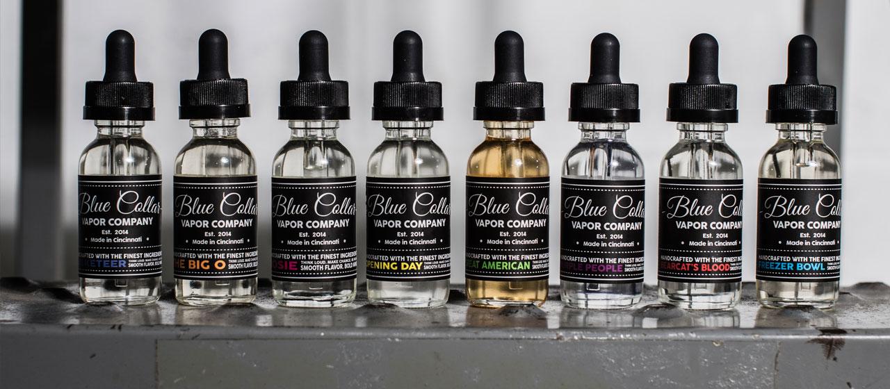 Bottles of Blue Collar Vapor Company Eliquid