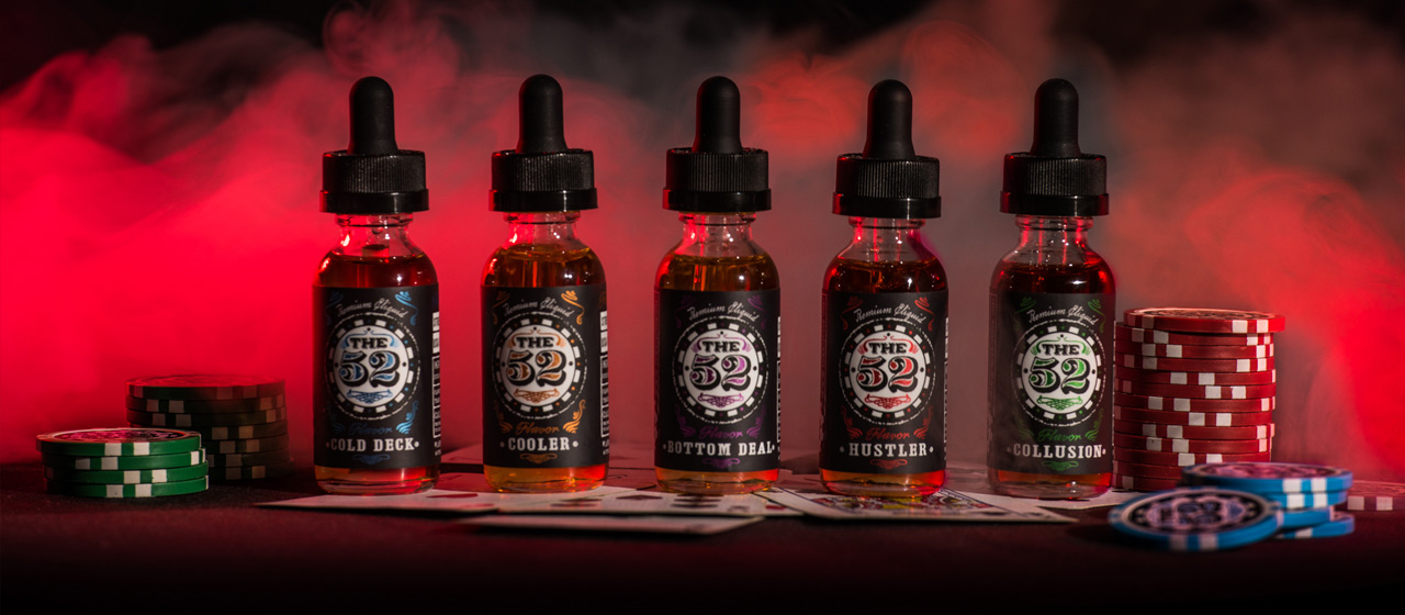 Bottles of The 52 E Liquid